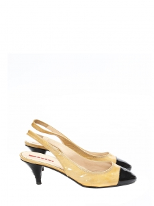 Black and gold yellow patent leather slingback kitten heels pumps Retail price €490 Size 36.5