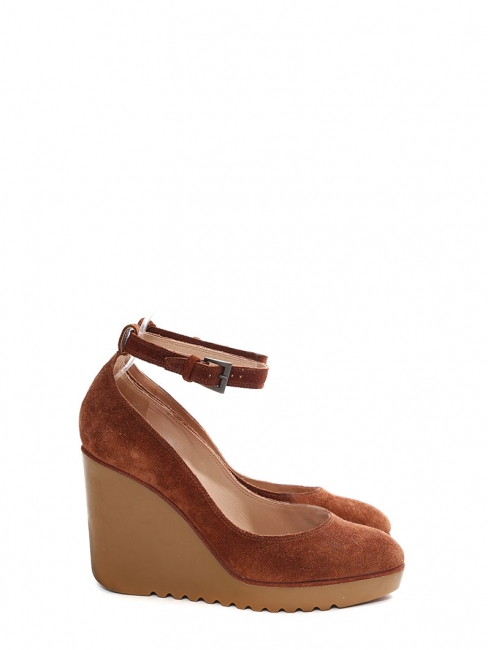 Cognac brown suede leather ankle strap rubber wedge shoes Retail price €550 Size 36.5