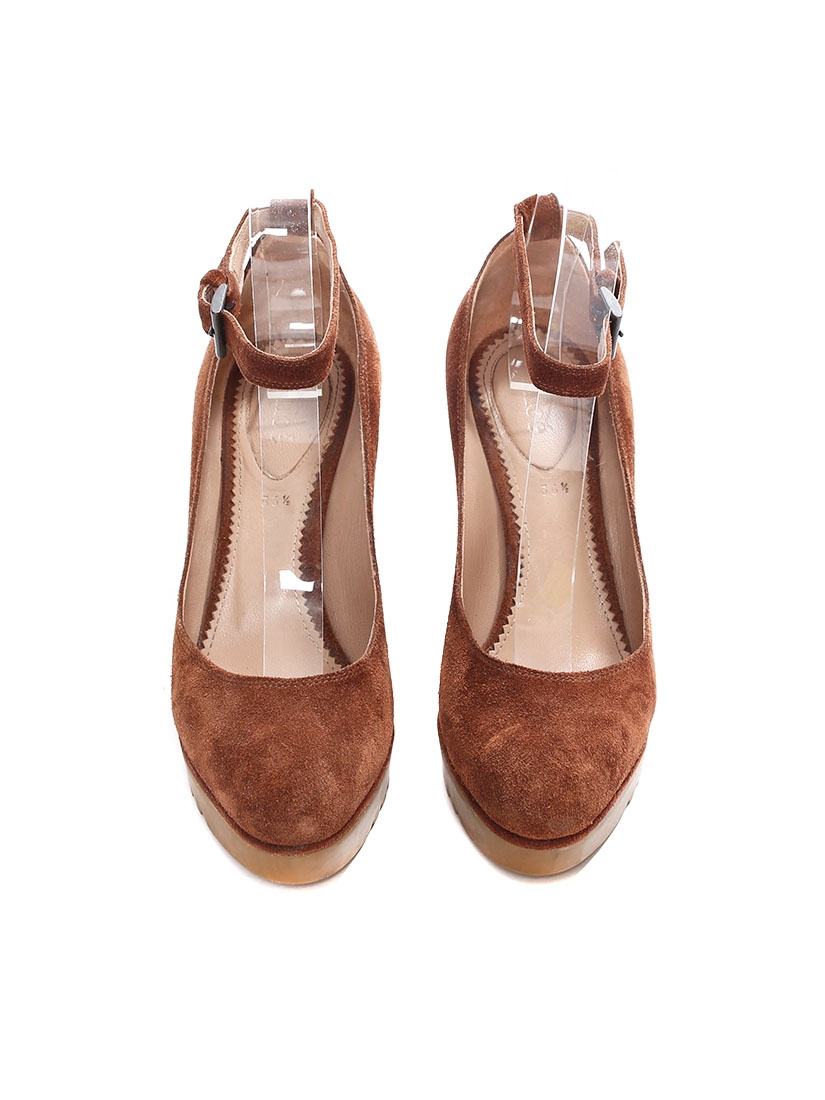 675d45c82e4 ... Camel brown suede leather ankle strap rubber wedge shoes Retail price €550  Size 36.5 ...