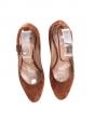 Chaussures à talon gomme compensé en suède marron camel Px boutique 550€ Taille 36,5