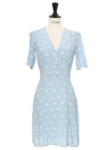 Robe MATIS en crêpe bleu ciel imprimé pois Px boutique 155€ Taille XXS