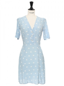 Sky blue with white dot printed crepe MATIS dress Retail price €155 Size XXS