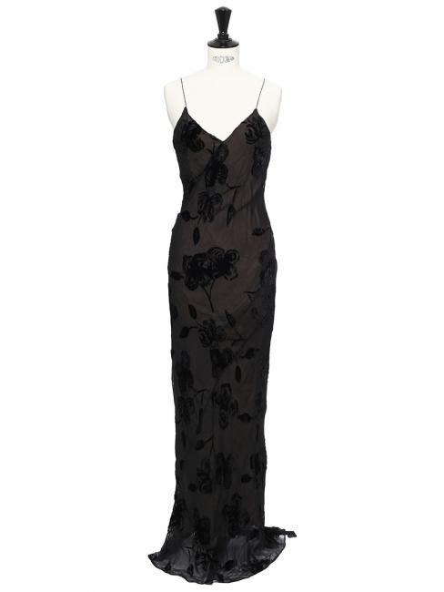 Robe de soirée longue dos nu décolleté en soie et velours noir Px boutique 1900€ Taille 34