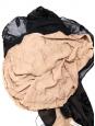 Robe longue dos nu à fines bretelles imprimé floral en velours noir Taille 38