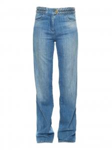 Jean taille tressée en coton denim bleu moyen Px boutique 150€ Taille 36