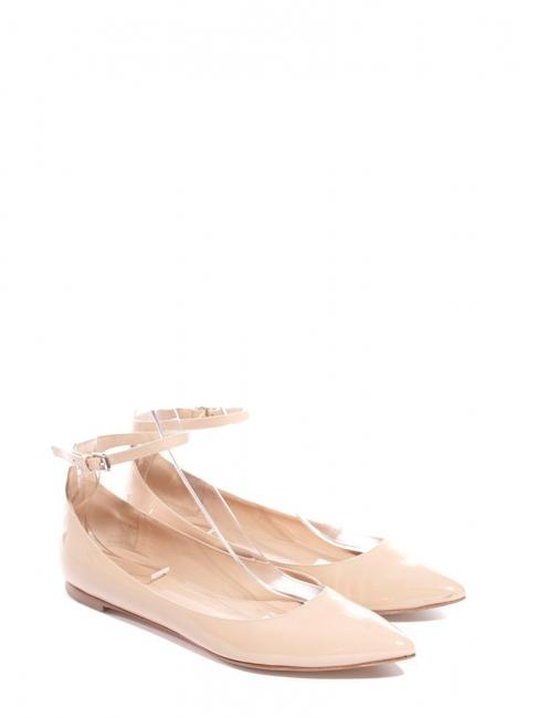 Chaussures plates GIA à bouts pointus en cuir verni beige nude Px boutique 420€ Taille 37,5