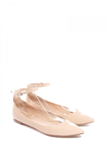 Chaussures plates GIA à bouts pointus en cuir verni beige bude Px boutique 420€ Taille 37,5