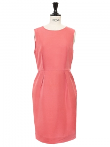 Honeysuckle pink silk sleeveless fitted dress Retail price €700 Size S