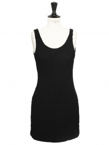 Black stretch silk open back mini dress Retail price €400 Size S
