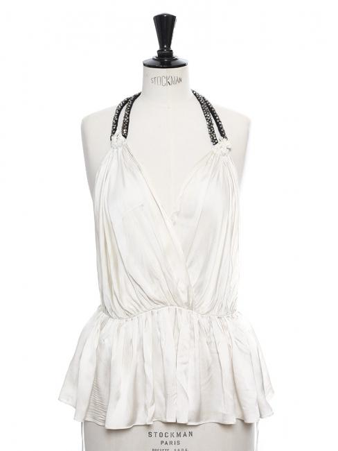 Top Couture dos nu en soie blanc ivoire et cristaux Swarovski Px boutique 800€ Taille 36