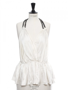 Ivory white silk and rhinestones open back halter neck top Retail price €800 Size S