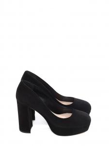 Chaussures à talon épais et plateforme en suède noir NEUVES Px boutique 500€ Taille 36