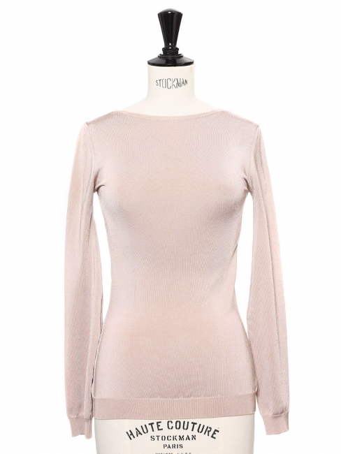 Pull fin manches longues dos ouvert en jersey stretch beige rosé Px boutique 600€ Taille 34