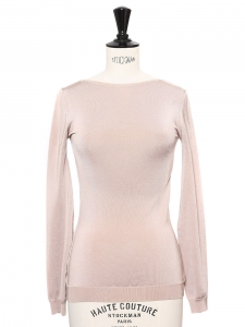 Pull fin manches longues dos ouvert en jersey stretch beige rosé Px boutique 600€ Taille 36