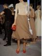 Pull fin manches longues dos ouvert en jersey stretch beige rosé Px boutique 600€ Taille 36