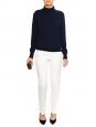 Pantalon droit en jersey texturé rayé blanc ivoire Px boutique 250€ Taille 36