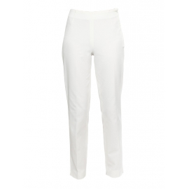 Ivory white striped textured jersey straight pants Retail price €250 Size 36
