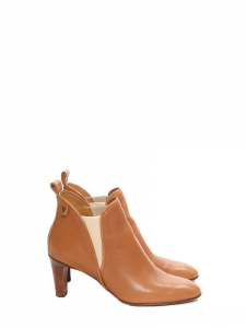 Bottines à talon PIPER low boots en cuir camel Px boutique 640€ Taille 39