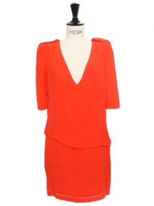 HERBRIDES Poppy red georgette silk structured dress Retail price €250 Size S