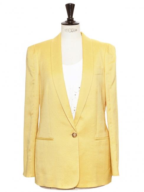 Veste blazer classique en laine et soie jaune soleil Prix boutique 1100€ Taille 38