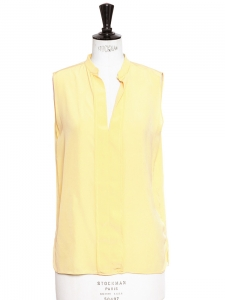 Butter yellow silk sleeveless top Retail price €350 Size S/M