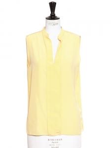 Top sans manches col Mao en soie jaune pollen Px boutique 350€ Taille 36/38