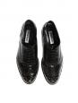 Chaussures plates Oxford en cuir glacé noir et studs argent Taille 39