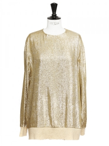 Gold metallic lamé silk long sleeves top Retail price €675 Size M/L
