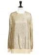 Gold metallic silk lamé long sleeves top Retail price €675 Size M/L