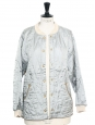 Steel blue Teddy quilted jacket Retail price €1300 Size 38