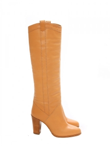 CALIE Nude beige leather knee high boots Retail price €690 Size 37