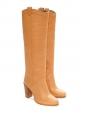 Bottes à talon CALIE en cuir végétal beige clair NEUVES Px boutique 690€ Taille 37