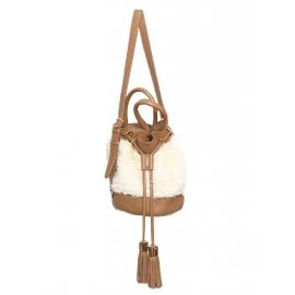 Sac seau VICKI en cuir camel, pompons et fausse fourrure NEUF Prix boutique 355€
