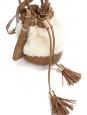 Sac seau VICKI en cuir camel, pompons et fausse fourrure NEUF Px boutique 355€