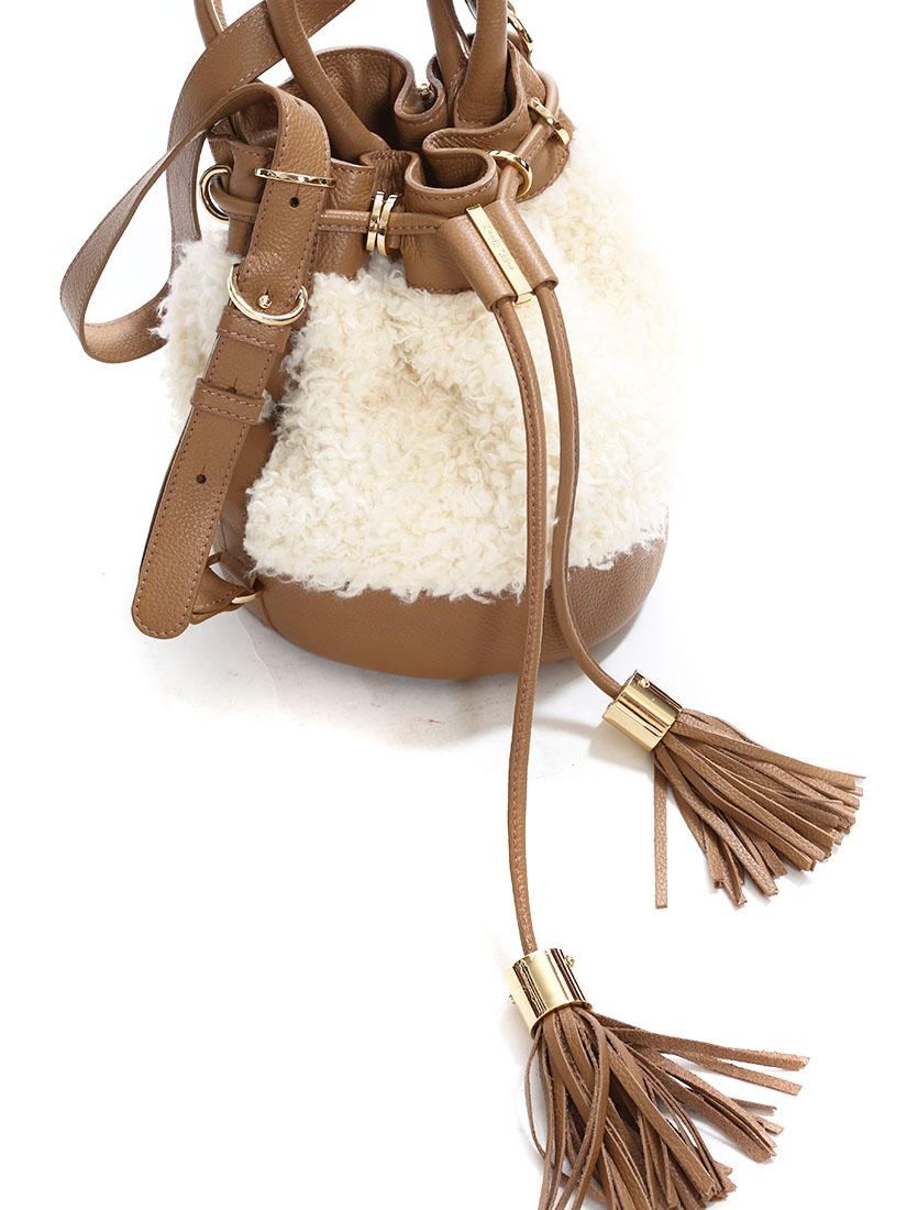 louise paris see by chloe sac seau vicki en cuir camel pompons et fausse fourrure neuf prix. Black Bedroom Furniture Sets. Home Design Ideas