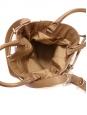 Sac seau VICKY en cuir camel, pompons et fausse fourrure NEUF Px boutique 355€