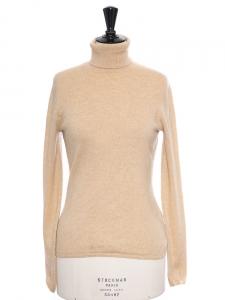Pull col roulé en cachemire beige camel Prix boutique 390€ Taille S