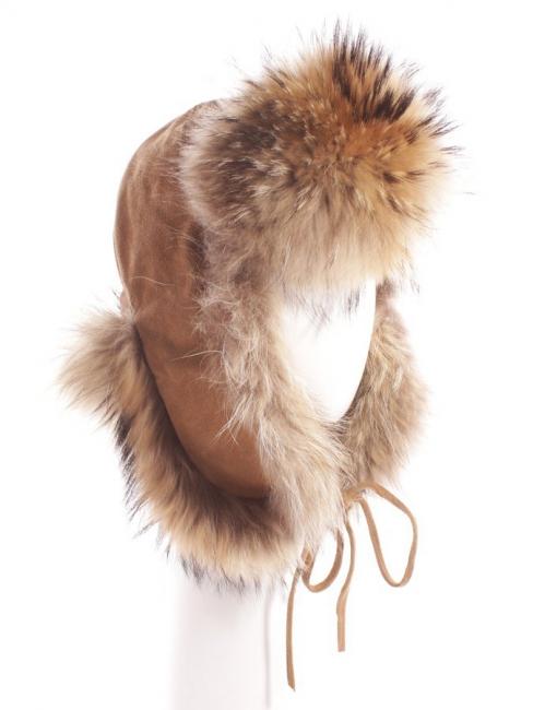 Chapeau chapka en cuir et fourrure brun roux Taille S/M (56/57)
