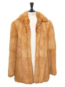 Manteau veste en fourrure roux cuivré Taille 36