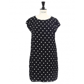 Short sleeves round neck black crepe dress with white polka dots Retail price €1550 Size M