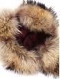 Chapeau chapka en cuir et fourrure brun roux Taille S / 56