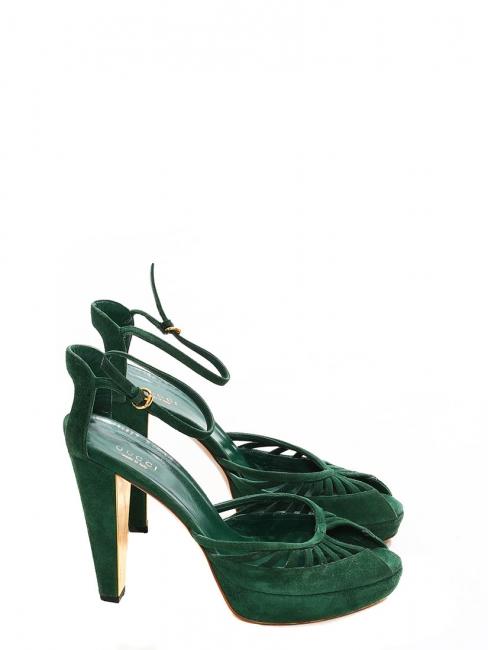 Sandales à bride cheville en suède vert foncé et talon doré Prix boutique 700€ Taille 39