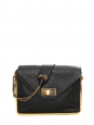 Sally rich black grained leather shoulder bag and gold chain Retail price €1710