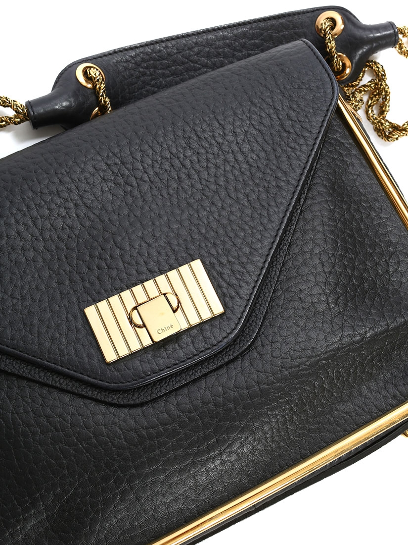 9cff55410a41 ... Sally rich black grained leather shoulder bag and gold chain Retail  price €1710 ...