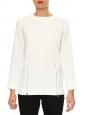 Top blouse en crêpe blanc ivoire et zip argent Prix boutique 500€ Taille 34/36