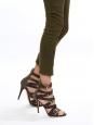 Multi strap brown leather and kaki canvas stiletto heel sandals Retail price 850€ Size 38