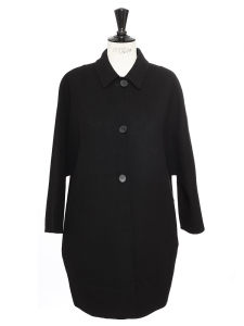 Black cashmere and virgin wool classic coat Retail price €1000 Size 36/38