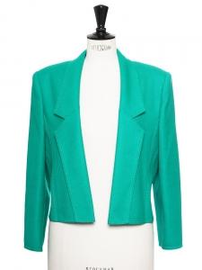 Veste courte structurée à épaulettes en laine vierge vert émeraude Taille 38