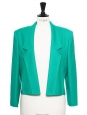 Emerald green virgin wool padded shoulders cropped jacket Size 38