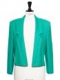 Emerald green virgin wool padded shoulders cropped jacket Size 38